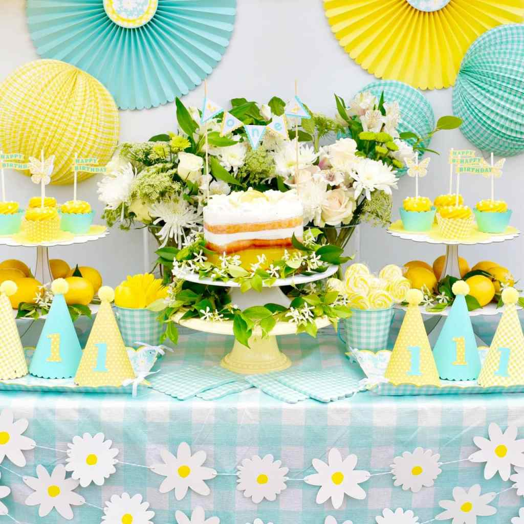 Outdoor garden yellow birthday party for girls' first birthday using Martha Stewart Meyer Lemon Celebrations and Cricut Explore