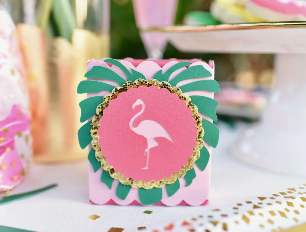 Flamingo tropical party favor box with Cricut machine at tropical baby shower