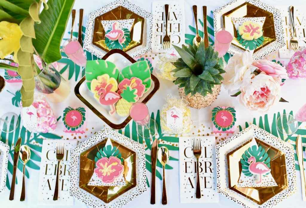 Tropical baby shower with Cricut party favors and Martha Stewart Celebrations gold line