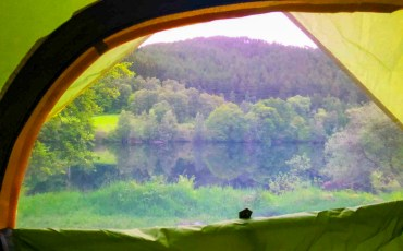 View from our tent whilst wild camping at Loch Tummel