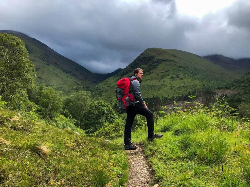 Alan hiking at Glen Nevis in Fort William Scotland
