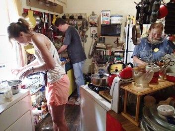 Day 5: Karen, Wayne, and Jeanne help prepare lunch.