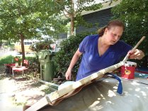Day 1: Jeanne starts work on the screen door.