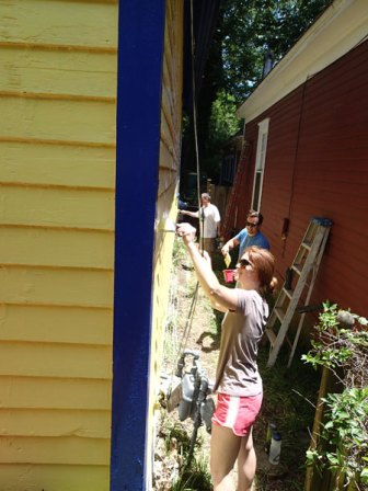 Day 3: Painting down the south side of the house.