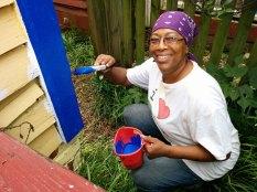 Day 2: Bertha starts painting blue.