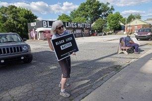 Barb on Black Lives Matter corner. Many of the regular protesters are grandmas.