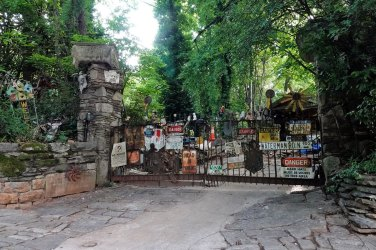 The gate to David's driveway. He was a collector (hoarder) and was featured on an episode of American Pickers.