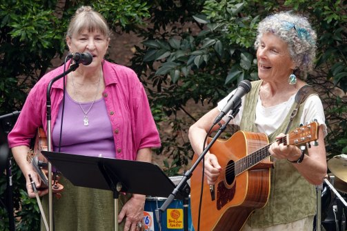 Barbara Panter and Elise Witt along with Mick Kinney (not pictured) played a tribute set of Joyce Brookshire songs.