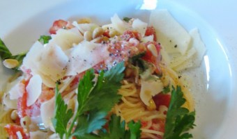 Angel Hair Pasta With Feta and Pine Nuts