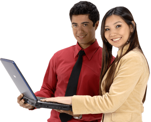 man and woman with a laptop