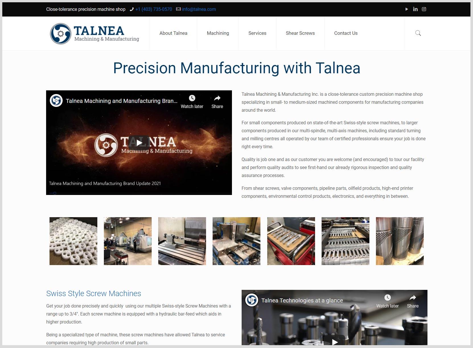 Talnea Machining and Manufacturing Website