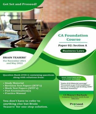 CA Foundation Business Laws Brain Teasers Book By CS Mayuri Burhade