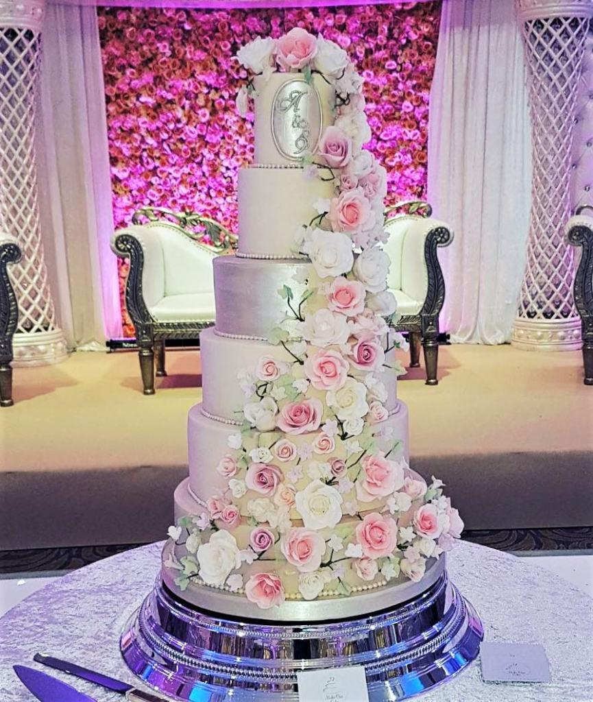 Six Tier Floral Wedding Cake