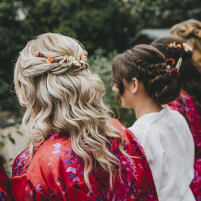 blonde half up half down with other bridesmaids