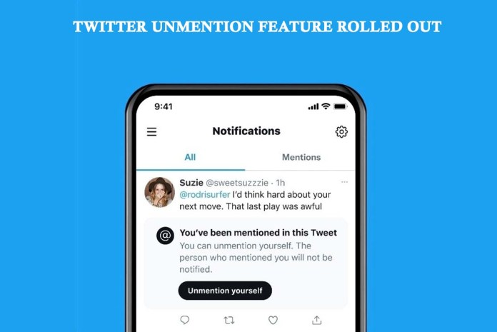 Twitter Unmention Feature Rolled Out
