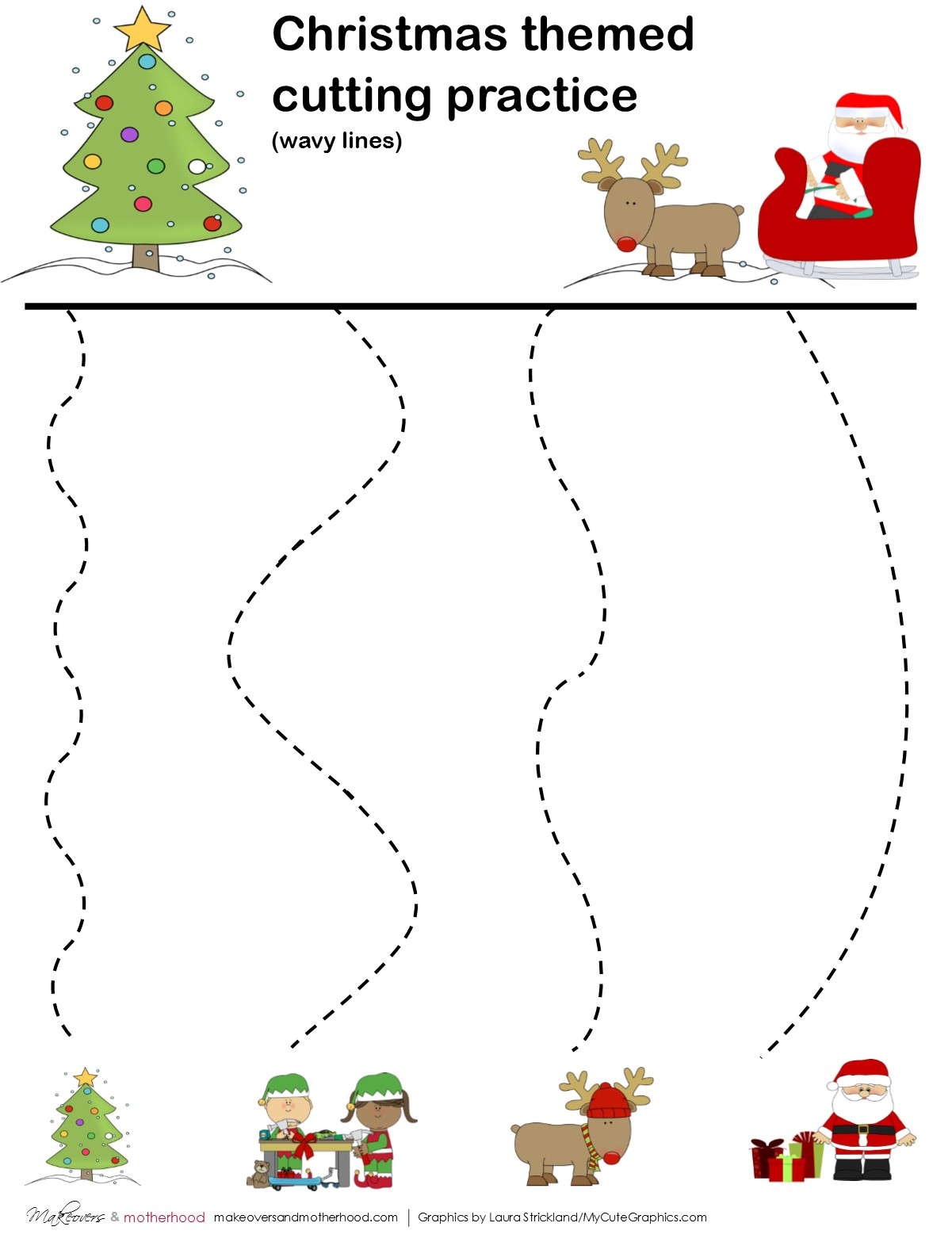 Christmas Cutting Practice Sheets