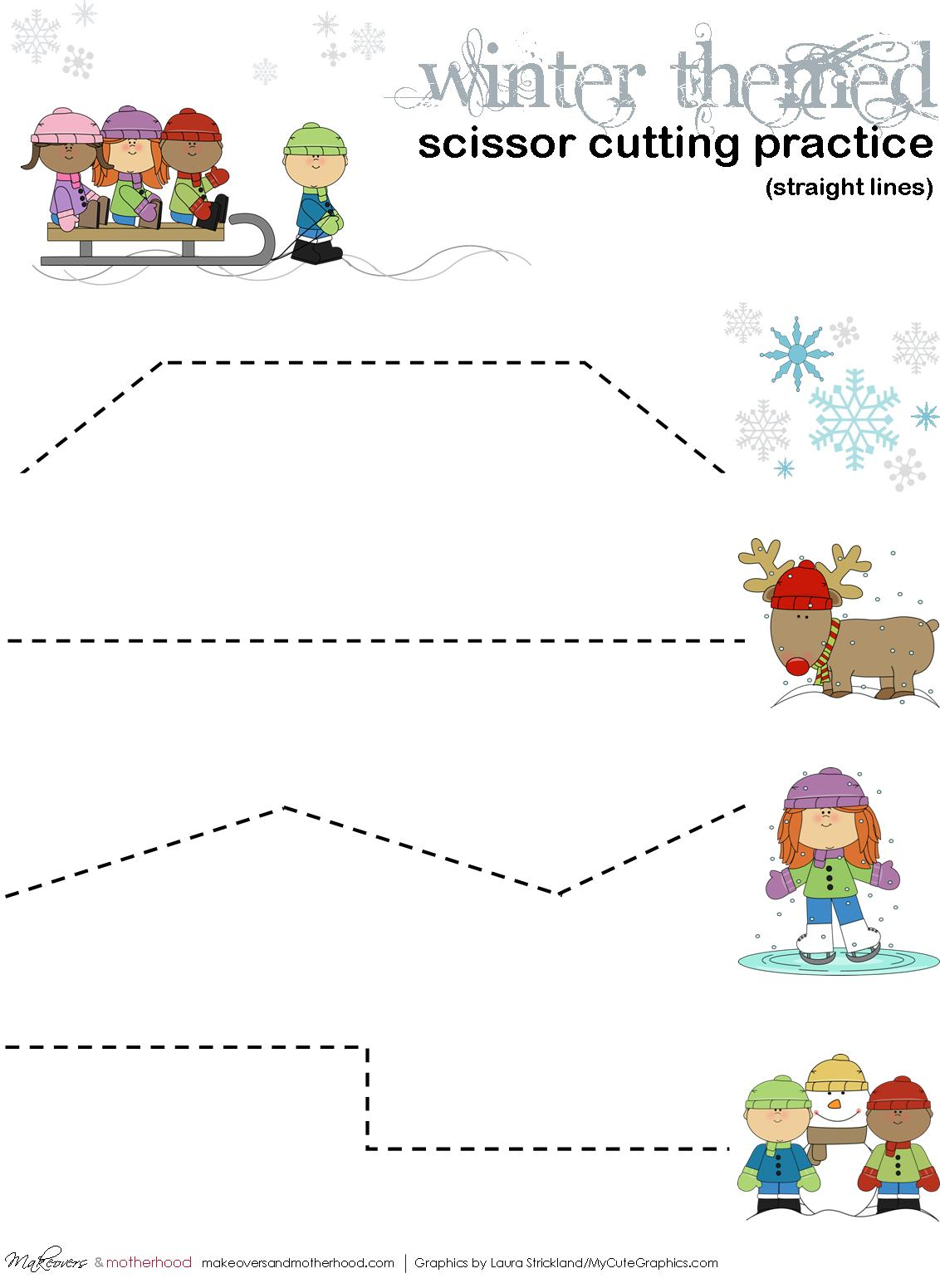 Winter Scissor Cutting Practice Sheets Printables