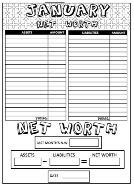 2019 printable coloring budget sheets 12 month set  bi