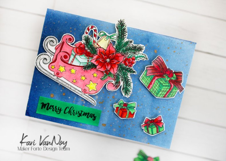 Santa's Sleigh Bouquet Stamp designed by Alex Syberia