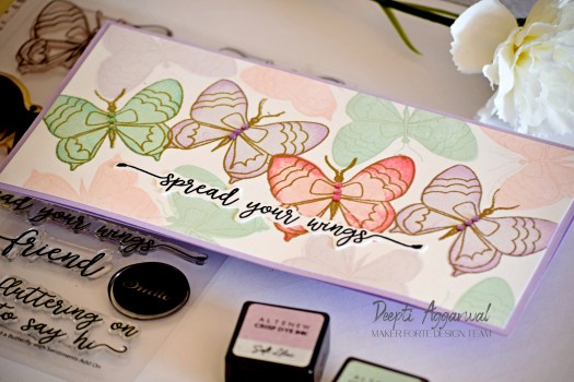 Pastel colored Slimline butterfly card using Layering stamping technique.