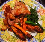 sweet potato crisps with roast lamb