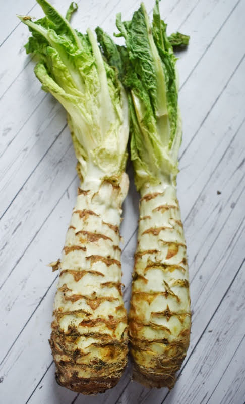 Celtuce and mushroom stir fry