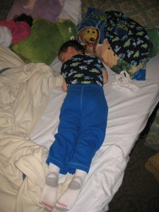 My son, age 4, who decided he rather sleep in than run a runDisney 5K (2011).