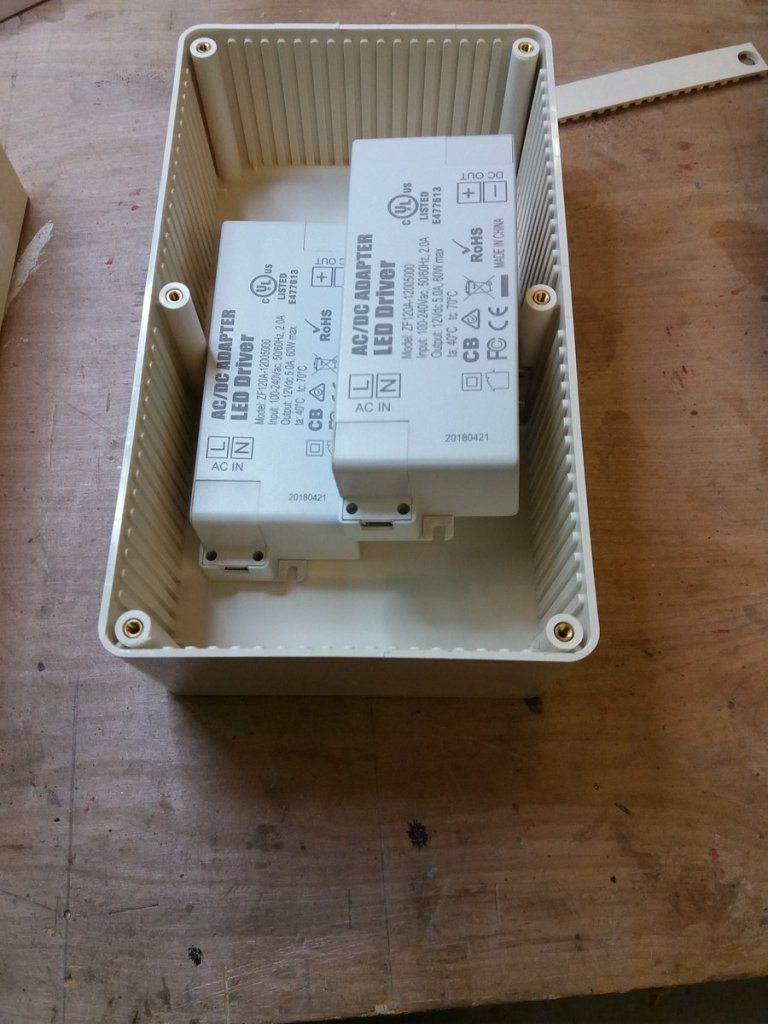 a plastic box with LED drivers in it