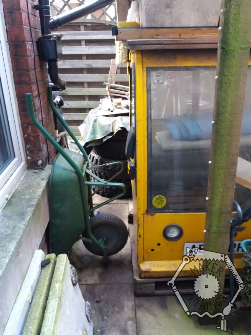 The space where the tractor was is now narrower, with a wheel barrow on end, and Beryl's cab moved over into the space.