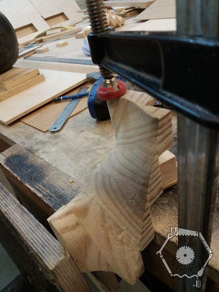 Another view of the stair winders held in the bench vice and an F clamp.