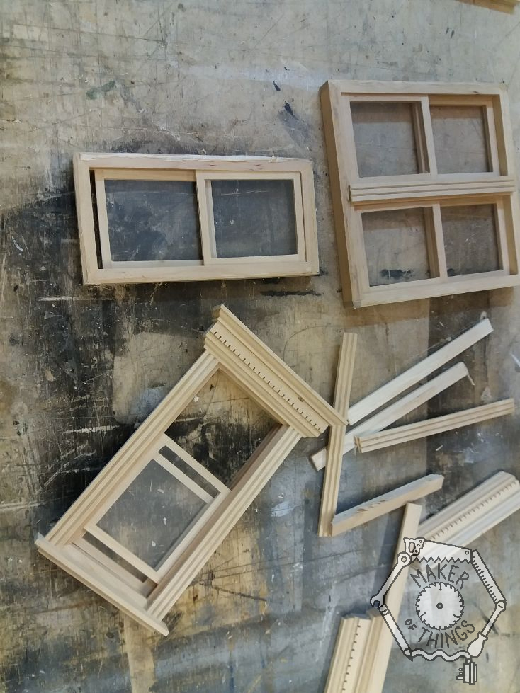 Some bought dolls house sash windows, two single sashes, and one double sash. The fitted mouldings, lintels and sills are being removed.