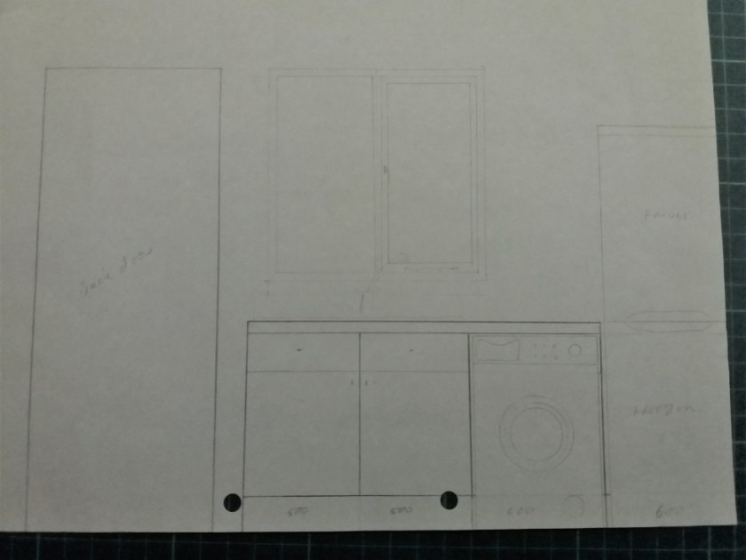 A sketch of the window wall of the kitchen showing a 1000mm sink unit under the window, a washing machine, and a tall fridge freezer in the corner.