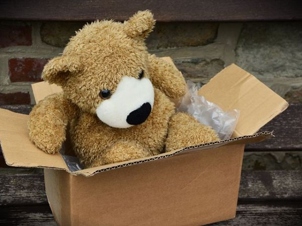 cardboard box with a teddy bear inside