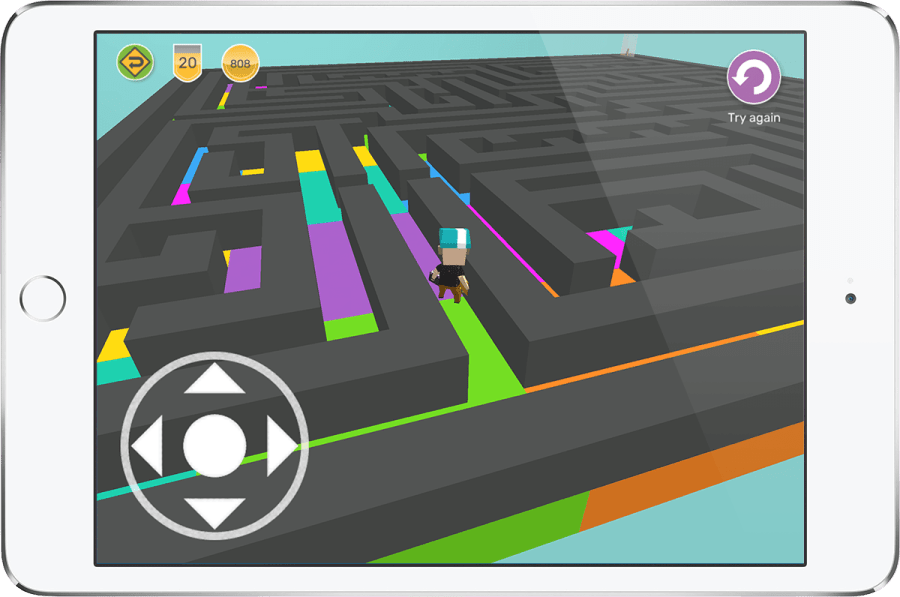 iPad showing a 3D maze game created in Makers Empire 3D design app