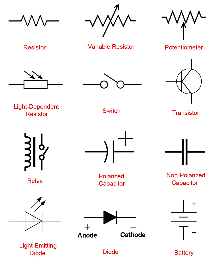 Light Emitting Diode Circuit Symbol Powerpoint Electrical Circuits Affordable Electronic Symbols With