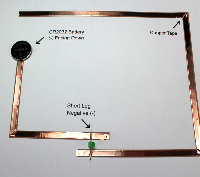 earth day paper circuit makerspace project coin cell battery