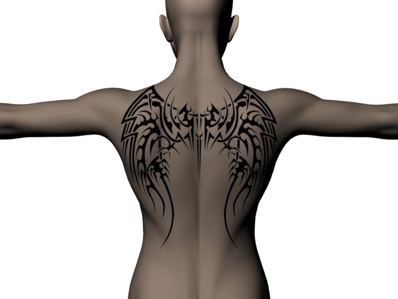 Dark wing tattoo. Angel or demon? Made with the Back Tattoo scene (insert