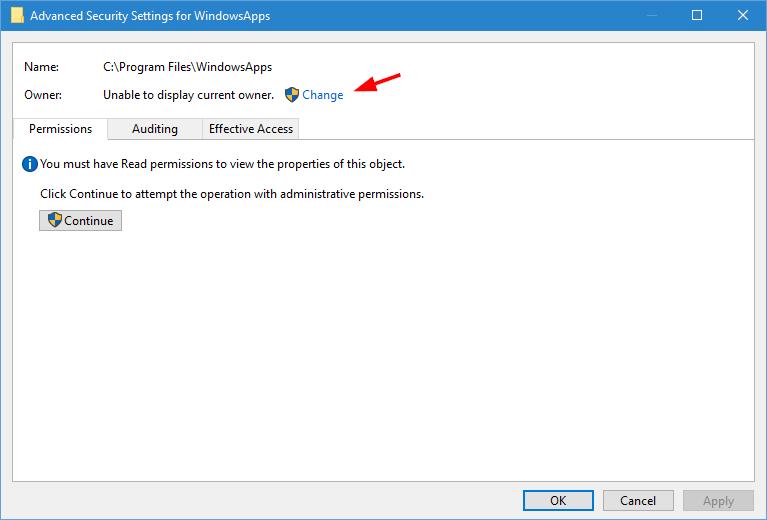 WindowsApps-Ordner-Klick-ändern