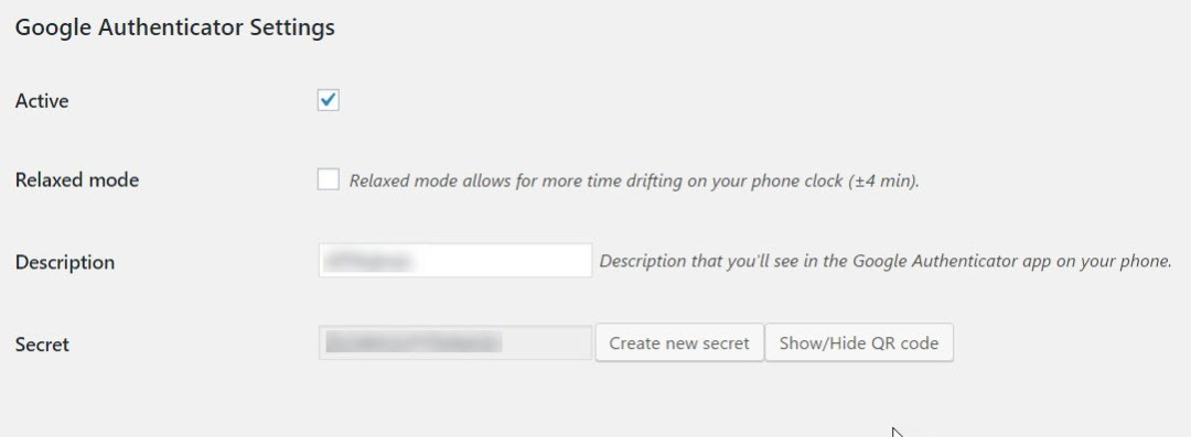 google-authenticator-settings