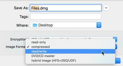 Auswählen eines Disk-Image-Formats im Festplatten-Dienstprogramm.