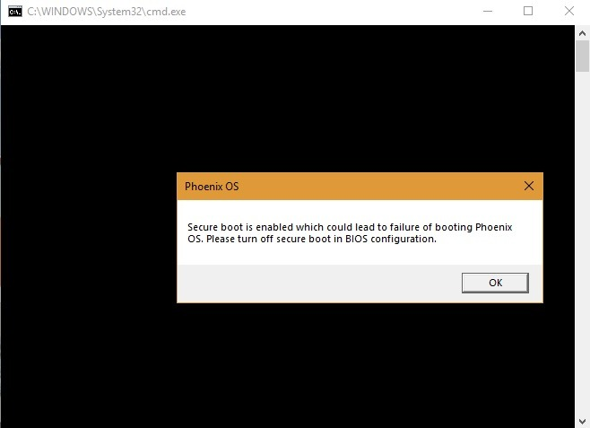 Secure Boot Phoenix Os Error