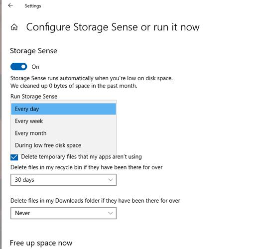 Aufräumen Platz schaffen Windows 10 C Drive Storage Sense 2