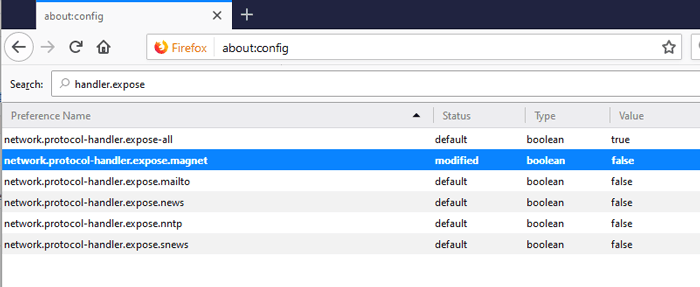 Öffnen Sie Magnetlinks Firefox