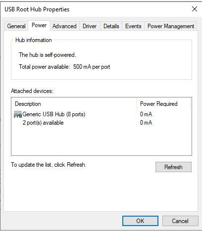 USB Power USB-Root-Hub-Eigenschaften