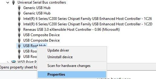 USB Power USB Root Hub Rechtsklick