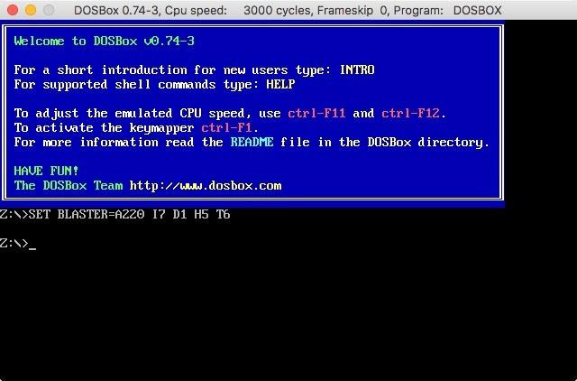 Benutzeroberfläche des Dosbox-Eröffnungsbildschirms