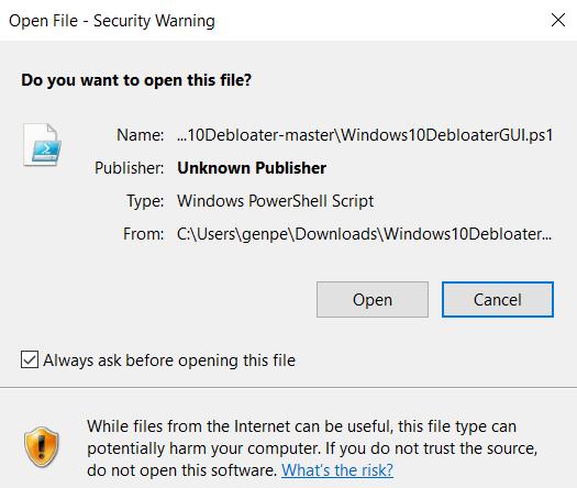 Bloatware entfernen Windows Open File