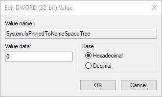 Hide Onedrive In File Explorer Windows Edit Dword