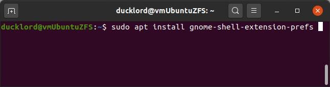 Terminal-Befehl zum Installieren der Erweiterungs-App in Ubuntu