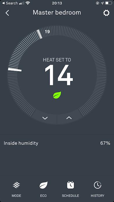 """Tippen Sie auf, um den Energieverbrauchsbericht für einen bestimmten Thermostat anzuzeigen """"Geschichte."""""""